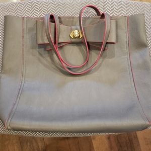Betsey Johnson Gray & Pink Tote With Dog Pendent